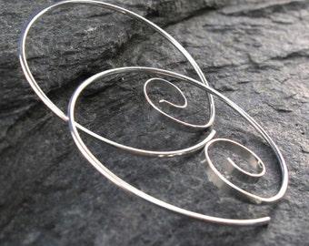 STERLING SILVER HOOP earrings . spiral hoop earring . large hoop . handmade. nickel free No.00E263
