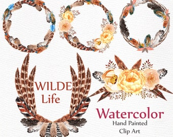 "Watercolor feather wreaths clipart: ""FEATHERS CLIPART"" wedding clipart DIY invites Boho wedding invitation frames handpainted clipart"