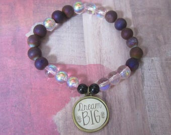 Inspiration Dream Big Charm Beaded Bracelet with Purple Druzy Quartz Beads