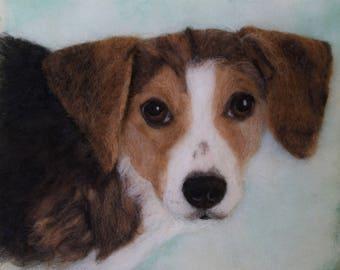 Needle Felted Dog Pet Portrait Wool Painting Fiber Art