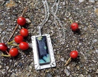Handstamped 925 sterling silver new lander gemstone pendant necklace