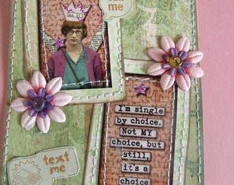 Single Fairy mixed media Sarcastic/Funny/ Tag/Gift Tag/Scrapbook/Card