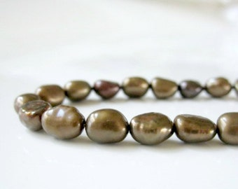 Brown Pearls, Chocolate Pearls, Brown Freshwater Pearls, Rice Pearls, Baroque Rice Pearls, Real Pearl, Genuine Pearl 5mm - Full Strand RP414