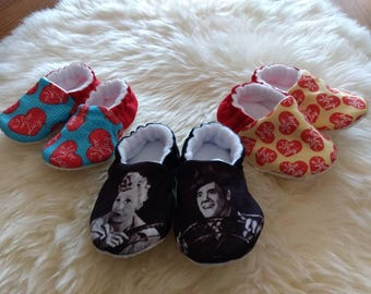 I Love Lucy Slipper/Moccs, Crib Shoes, Toddler Moccs, Kid's Slippers, Soft Sole Women's Slippers, Baby Gift, Gift for Women