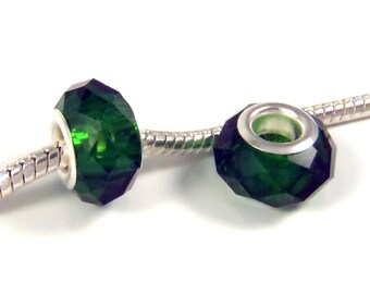 3 Beads - Dark Emerald Green Glass Crystal Silver European Bead Charm E0879