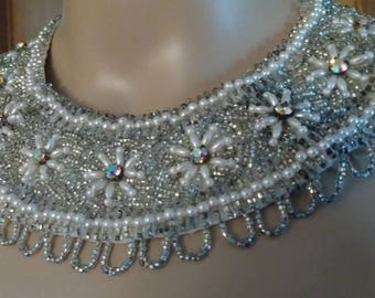 Vintage Aurora Borealis and Seed Bead Collar Necklace
