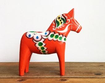 8 Inch Dala Horse/Vintage Wood Horse/Bright Red Dala Horse/Scandinavian Folk Art/Hand Painted Wooden Horse/Horse Figurine/Made in Sweden