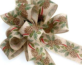 Christmas bow for wreaths, pinecone burlap bow, Christmas decor, lantern bow, holiday bows, tree topper, wedding bows, gift bows