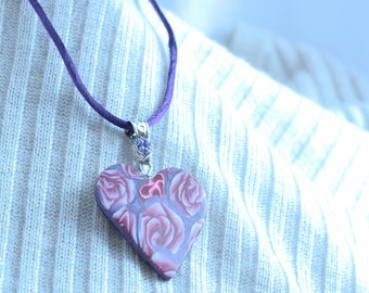Dusty Rose Heart Necklace
