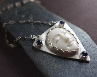 Carved Bone Moon Woman's Face Pendant, Female Face Sterling Silver Necklace , Bone Face Pendant, Violet Blue Iolite Gemstone Necklace