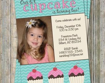little cupcake photo birthday invitation, digital, printable file