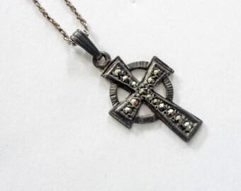 Vintage Celtic Marcasite Cross Pendant Necklace Sterling Silver