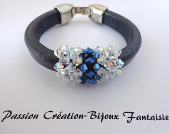 Navy blue leather swarovski crystal bracelet