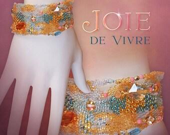 Joie de Vivre . . . a freeform Peyote beaded cuff bracelet