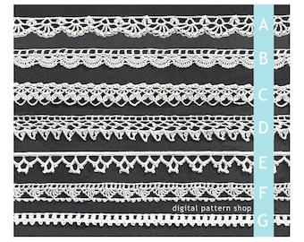 Crochet Edging Pattern 1970s Vintage Trim Crochet Pattern Seven Styles Digital PDF Instant Download PDF -C62