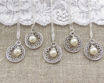 Bridesmaid necklace set of 5, wedding necklace white pearl necklace, Bridesmaid gift set of 4, Bridesmaid set of 6, wedding jewelry set of 7