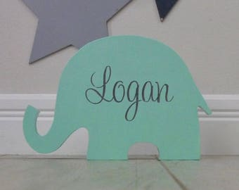 Name sign, Custom wooden name, Elephant decor, Nursery name sign, New baby gift, Nursery Decor - Elephant