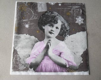 x 1 vintage napkin girl Angel 33 x 33 cm