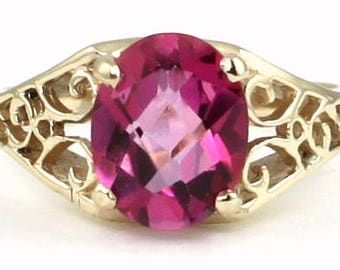 Pure Pink Topaz, 18KY Gold Ring, R005