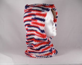 Red hooded cowl #4018, hooded cowl, womens hooded scarf, winter hood, adult hood, knit hood, womens knit hoodie, warm knit cowl, winter