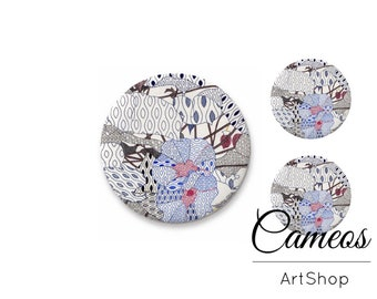 Glass Cabochon, Abstract cabochon 1x25mm and 2x12mm, 1x20mm and 2x10mm, handmade Flatback Cabochon, Japan pattern, grey color - S1529