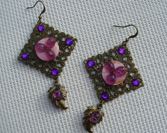 Earrings bronze, pink and violetttes