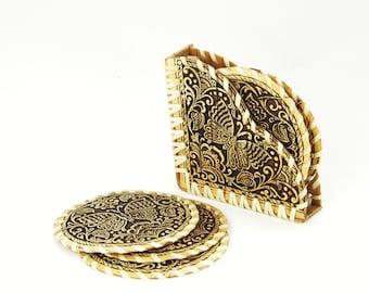 Coasters, Set of 6, with storage box