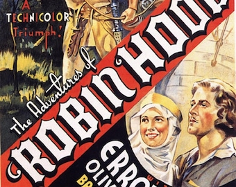 The adventures of Robin Hood 1938  Errol Flynn movie poster reprint 19x12.5 inches #3