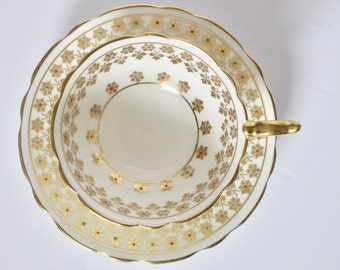 Royal Stafford England Bone China Gold Decorated Enamelled Footed Tea Cup and Saucer