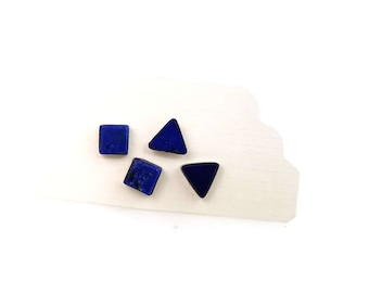 Royal Blue Earrings, Vintage Lapis Lazuli Earrings, Mix Match Earrings, Triangle Studs, Square Studs, Blue Southwest Sterling Silver Studs