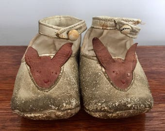 Antique Leather Baby Shoes with Bunnies, Easter Shoes