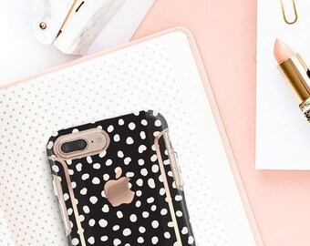 iPhone 8 Case iPhone 8 Plus Case iPhone X Black and Dots and Rose Gold Case Otterbox Symmetry