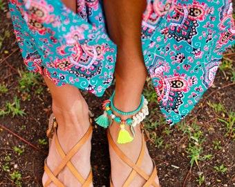 Seashell anklet, beach anklet, turquoise anklet, charm anklet,  boho anklet, colourful anklet, festival anklet