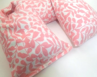 Microwave Neck Wrap - Flax Seed Heating Pad or Cold Pack - Organic Cotton Flannel - Pink Mother's Day Gift
