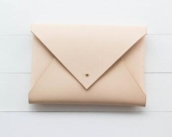 Classic Leather Envelope Clutch - Natural Veg Tan