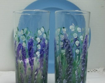Water Glasses, Hand Painted, Drinking Glasses, Lavender Flowers, Lily of the Valley, Garden Painting, Flower Garden, Kitchen Decor,