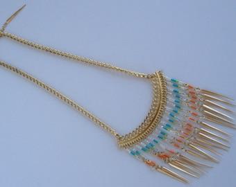 Antique Gold Spike Collar/Fringe Necklace