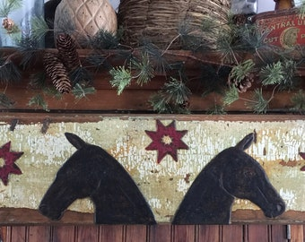 Two Horses and Stars on Super Chippy Paint Door Panel