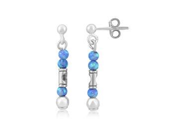 Sterling SIlver and Blue Opal Drop Earrlings