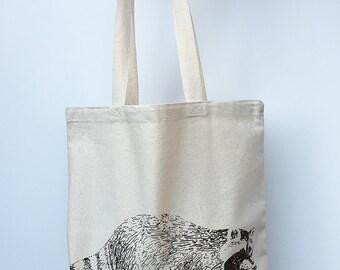 RACCOON- Eco-Friendly Market Tote Bag - Hand Screen printed (Ships FREE!)
