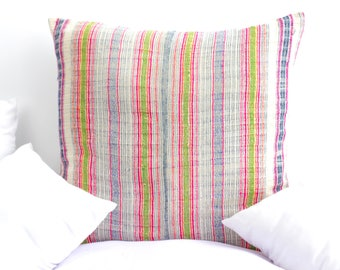 VINTAGE Hmong Pillow Hand Woven HEMP Organic HMONG Ethnic A Piece Of Tribal Textile Striped Pink White Cream
