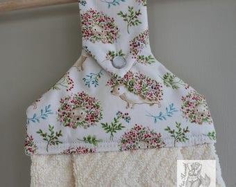 Floral Hedgehogs Hanging Kitchen Towel // Woodland Kitchen Towel // Dish Towel // Hedgehog Towel