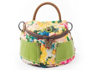 Handmade Crossbody Bag, Leather & Silky Cotton