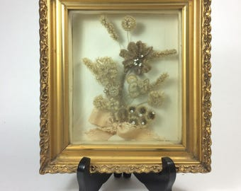 Ornate Victorian Human Hair Mourning Diorama Framed