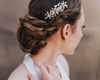 """Hair Comb for Bride , Bridal Comb, Boho Hair Comb, Wedding Comb - """"Brooklyn"""" Small Hair Comb (Silver, Silver with Opal, Gold or Rose Gold)"""
