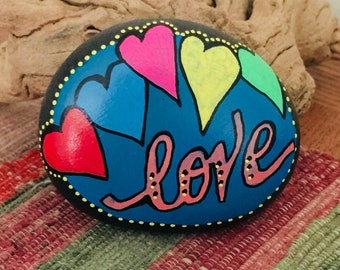 hand painted, river rock, inspirational, serenity, love, unique