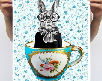 Rabbit Nursery Decor, Bunny Print, Rabbit Art Print, Rabbit Print, Rabbit Art, Rabbit Wall Art, Blue,  Wall Decor, Art Print , Wall Hanging