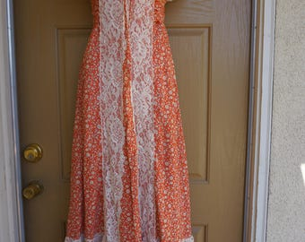 Prairie dress Corset Laces 90's Gunne Sax Style Tied Bodice lace maxi Large
