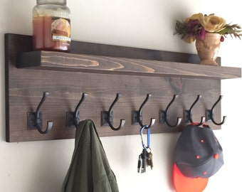 "36"" Rustic Coat Rack with Shelf"
