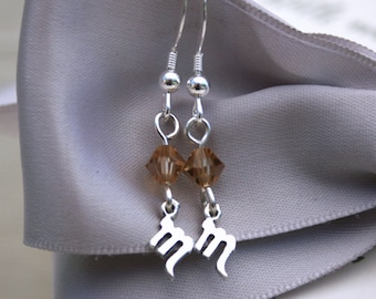 Zodiac earrings Petite size Sterling Silver with Swarovski Elements Birthstone crystals